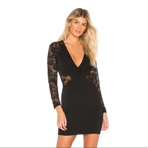 By the way. Sheer lace long sleeve mini dress